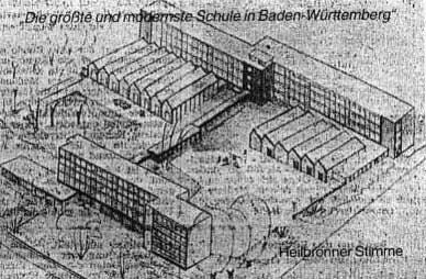 Entwurfsskizze der neuen Berufsschule in der Paulinenstraße